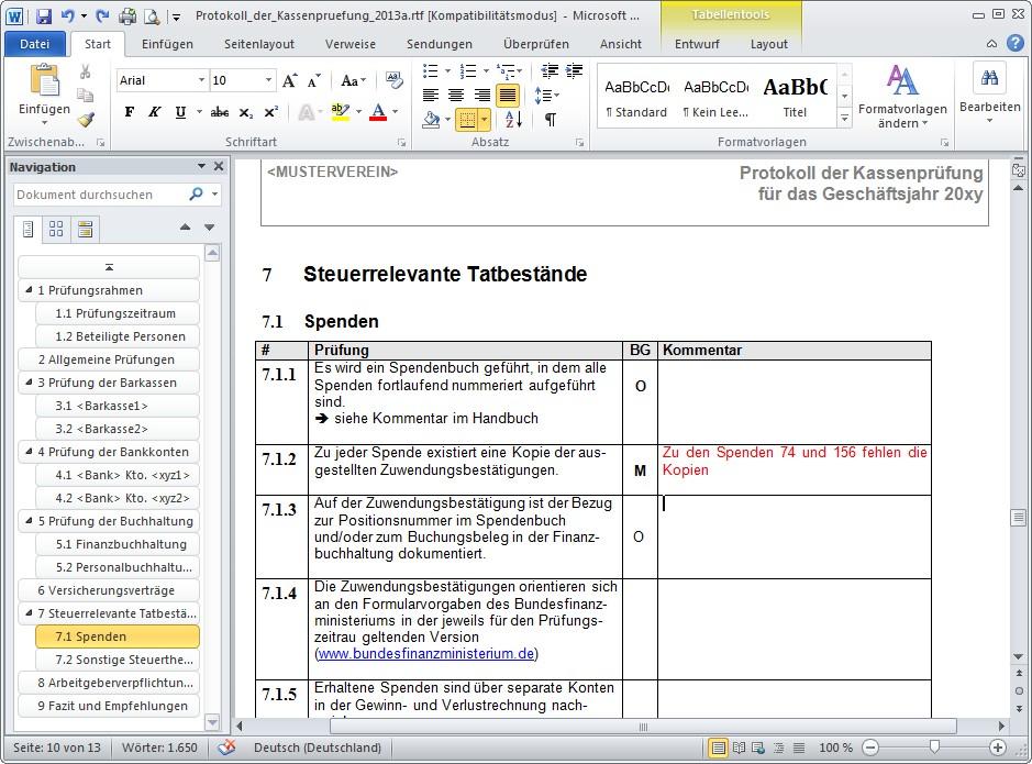 Prüfungsschema Für Die Kassenprüfung Im Verein